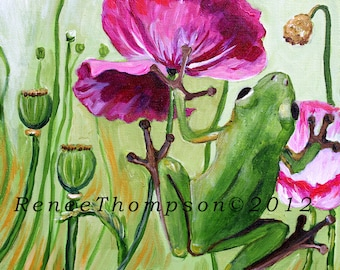 "Tree Frog and Poppies, 8"" x 8"" PRINT - frog painting, frog art, wildlife art, poppy art, pink poppies, botanical art"