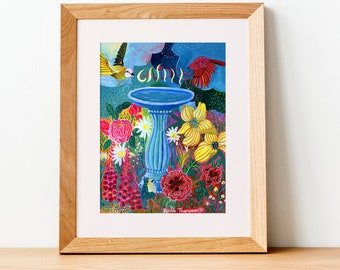 Garden, PRINT - bird bath, gardening, flowers, birds, illustration, lettering, pink, blue, raindrops