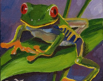 "Frog painting, frog art, Wildlife Art, Red Eyed Tree Frog, amphibian art, 11"" by 11"" PRINT"