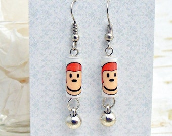 Monkey Earrings, Paper Bead Earrings, Monkey Head Earrings, Ape Earrings, Primate Earrings, Monkey Gift, Monkey Face, Monkey Jewelry, Silver