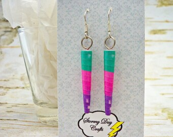 Spike Earrings, Aqua Earrings, Paper Bead Earrings, Easter Earrings, Cone Earrings, Pink and Aqua Earrings, Purple Earrings, Gift For Her