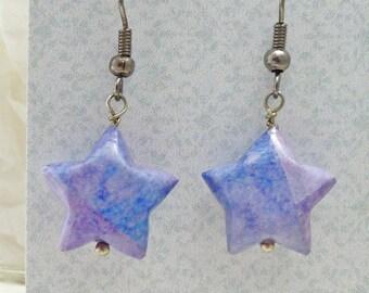 Lavender Earrings, Lucky Star Earrings, Origami Earrings, Paper Bead Earrings, Purple Earrings, Lilac Earrings, Star Earrings, Gift For Her