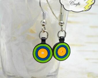 Green Blue Gold and Black, Paper Bead Earrings, Target Earrings, Quilled Earrings, School Pride Earrings, Team Pride Earrings, St. Vincent