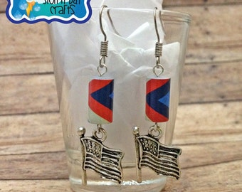 Patriotic Earrings, Red White Blue Stripes, Paper Bead Earrings, Flag Earrings, American Earrings, 4th Of July Earrings, Patriotic Jewelry