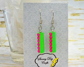 Watermelon Earrings, Green & Pink Earrings, Rhinestone Earrings, Paper Bead Earrings, Bling Earrings, BBQ Earrings, Party Earrings