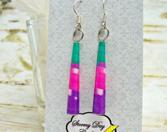 Cone Earrings, Aqua Earrings, Paper Bead Earrings, Easter Earrings, Spike Earrings, Pink and Aqua Earrings, Purple Earrings, Gift For Her