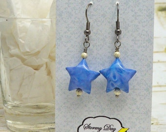 Lucky Star Earrings, Origami Earrings, Paper Bead Earrings, Purple Earrings, Lilac Earrings, Star Earrings, Lavender Earrings, Gift For Her