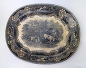 Antique Ironstone Platter- XIX century - Antique from Spain - Hunting Scene