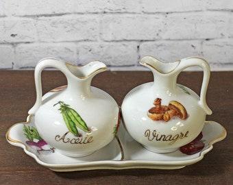 Vintage Cruet Set Retro cruet - Oil & Vinegar Cruet Set - Spanish cruet set - Retro Kitchen Servingware - Vintage oil vinegar set (VL)