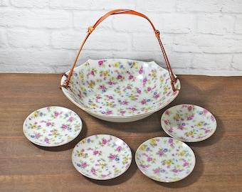 Vintage Porcelain Basket and plates - Appetizer platers and basket