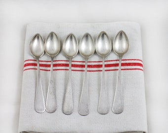 Vintage Sterling Silver Spoons Antique Set of 6 small spoons - coffee spoons sterling silver teaspoons  - solid silver spoons circa 1900