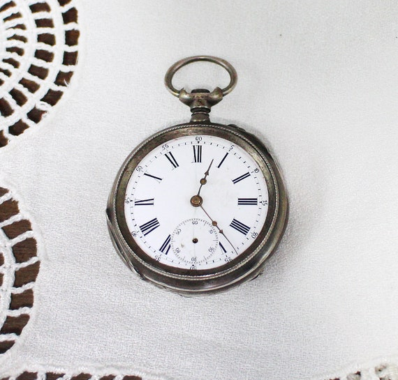 Antique sterling silver Pocket Watch - Vintage poc