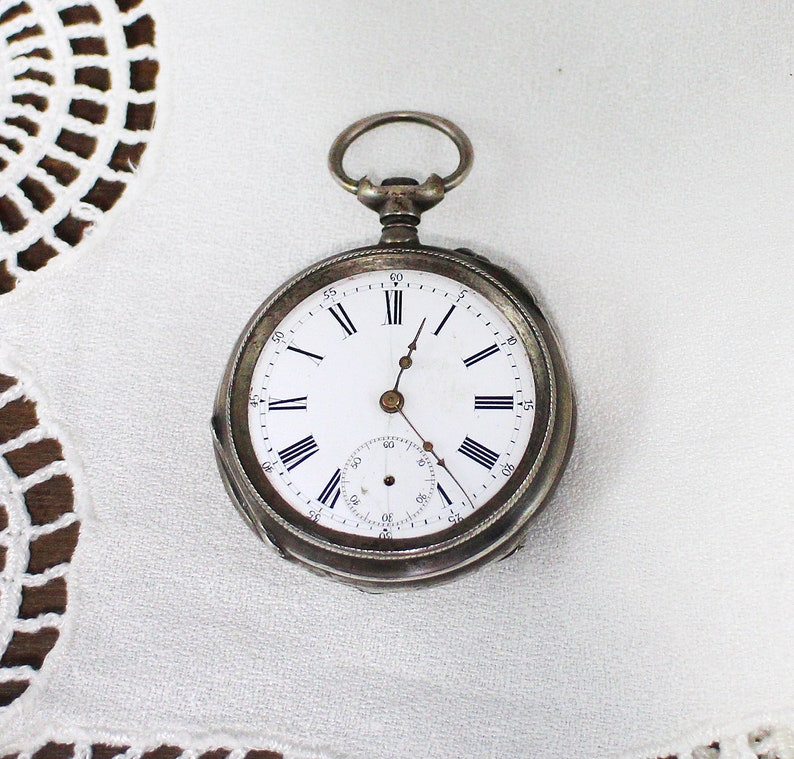 Antique sterling silver Pocket Watch - Vintage pocket watch for Repair or  Parts