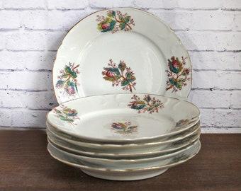 6 Vintage Porcelain Plates Antique Plates Porcelain plates 1800s - Flowers transferware - (MC)