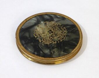 Vintage Powder Compact - Mirrored Vanity Powder compact - Vanity Purse accessories Pocket mirror  (VL)