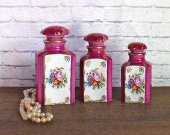 Vintage French Vanity Set Vanity Porcelain Jars - Bathroom French set jars Pink flowers Porcelaines de Couleuvre