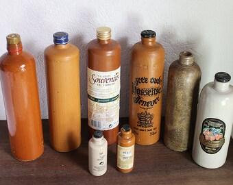 Vintage Stoneware Bottles Vintage Terracotta bottles - Stoneware Jug - French Rustic decoration Farmhouse - Vintage Flasks  Mineral Water