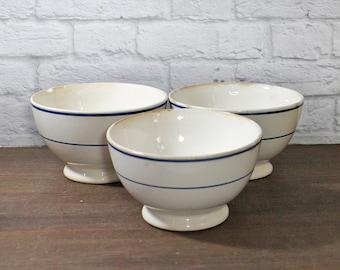 Vintage Cafe au Lait bowls Breakfast bowls Ironstone Cafe Au Lait Breakfast Ceramic Bowls - White Porcelain blue stripes transferware