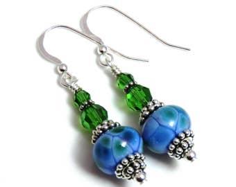Blue & Green Lampwork Earrings, Swarovski Crystals, Blue Earrings, Green Earrings, Blue Dangle Earrings, Sterling Silver, Crystal Earrings