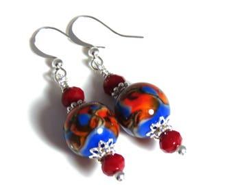 Blue & Red Lampwork Earrings, Blue Earrings, Red Earrings, Blue Dangle Earrings, Sterling Silver, Crystal Earrings, Red Dangle Earrings