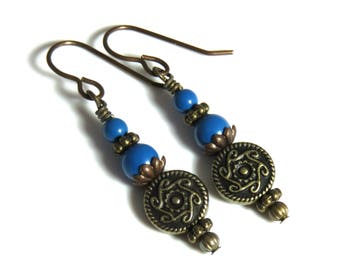 Blue Swarovski Pearl Earrings, Blue Pearl Earrings, Blue Earrings, Pearl and Antique Brass Earrings, Blue & Antique Brass Earrings