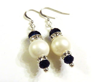 Mother of Pearl Earrings With Dark Blue Swarovski Crystals