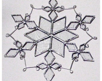 Large Snowflake Stained Glass Suncatcher