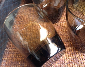 Libbey Brown Glasses Thick Bottom Base Libby Cocktail Glass Vintage Set (4)