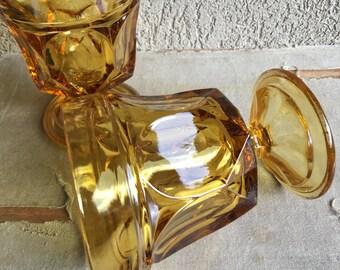Fairfield Amber Rocks Glasses Footed Goblets Anchor Hocking Glass Vintage Set 2 - #D2312