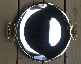 Kromex Metal Mirrored Tray Round w/ Handles Vintage In Original Box Vogue Giftware - #4440