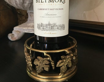 Brass Wine Bottle Coaster Grapevine Metal Holder Vintage Grape Vine Bar Decor - #D2021