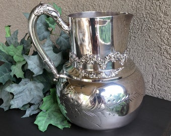 Great American Silver Water Pitcher, Antique Water Pitcher, Victorian Water Pitcher, Antique Silver Plate Water Pitcher, Metal Water Pitcher