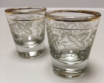 Bartlett Collins Shot Glasses Decoration 806 Sugar Frosted Grapevine Vintage Set (2) ~ #A1455