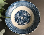 Fruit Dessert Sauce Bowls Currier & Ives Blue Ironstone Old Farm Gate Vintage Set 4 ~ #J5035