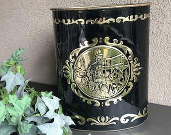 Harvell Black & Gold Trash Can Metal Garbage Bin / Vintage Waste Paper Basket - #J4051