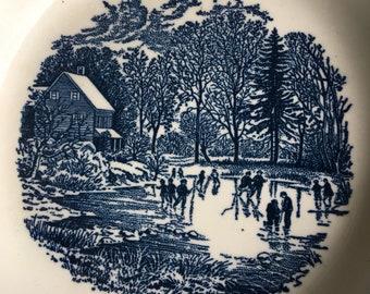 Currier & Ives Blue Rim Soup Bowls / Early Winter / Vintage Ironstone Set 4 / USA - #J5031