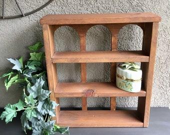 Wood Wall / Tabletop Display Shelf W/ Three Shelves Vintage   #A1503