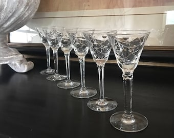 Cut Crystal Cordial Glasses / Swag & Circle Pattern / Stemmed Vintage Set 5 - #A2318