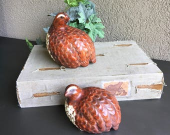 Brown Ceramic Quail Figurines Sitting Bird Statues Vintage Set 2 ~ #J2123