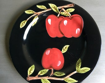 Canterbury Potteries Midnight Orchard Red Apple Plates, Canterbury Potteries Ltd, Red and Black Apple Plates, Apple Plate Set of 4
