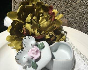 Dove Wedding Ring Box Ceramic Pink Rose - #F5131