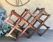 Wood Accordion Wine Rack, Vintage Accordion Wine Rack, Accordion Counter Wine Rack, Vintage Wooden 10 Bottle Wine Rack, Folding Wine Rack