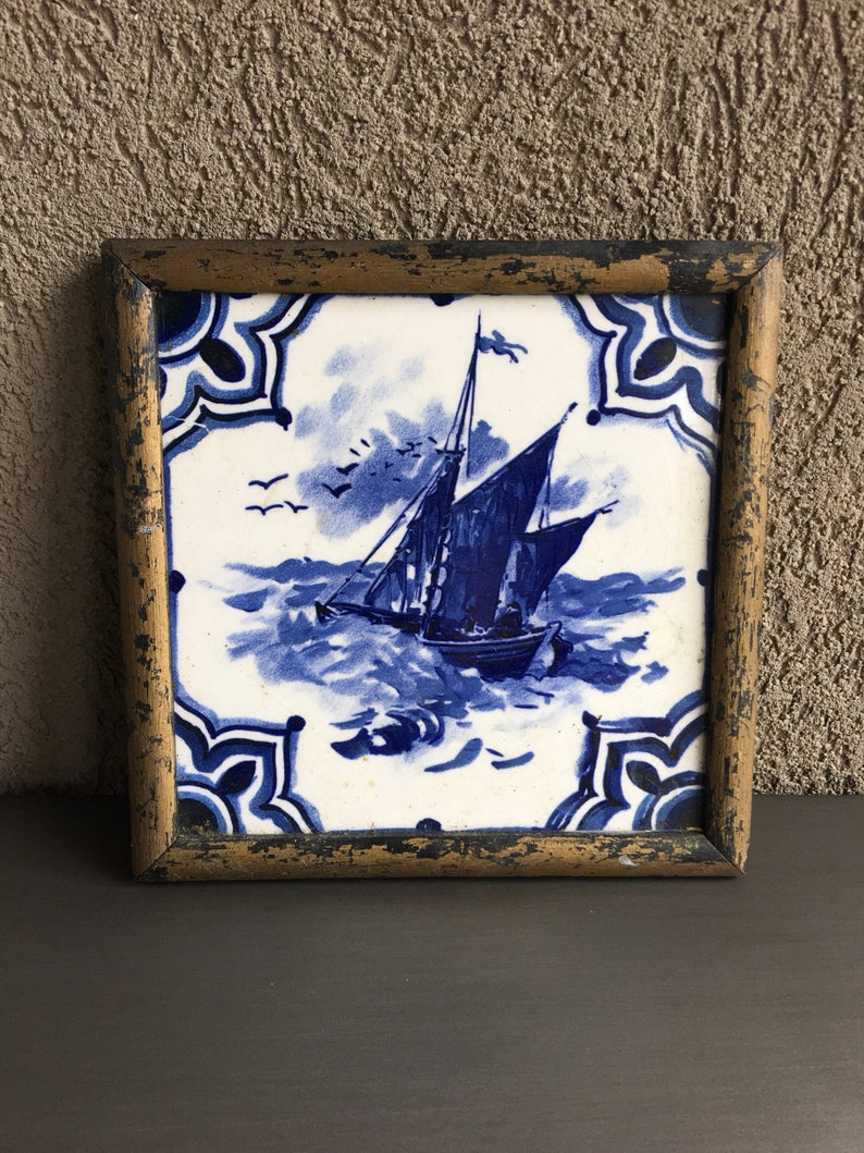 Delft Tile Inset On Wood Frames Pottery & Glass Two Vintage Delft Wall Plaques