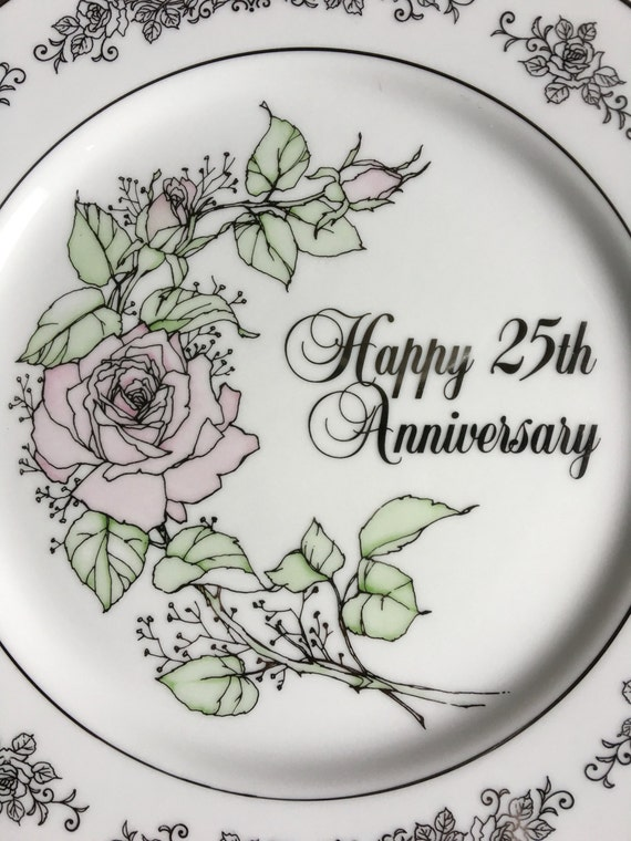 enesco 25th anniversary wishes dinner plate vintage 1983 etsy