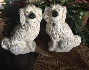 Antique Staffordshire Spaniel Dogs, Antique Staffordshire Dog Figurines, Antique Staffordshire Spaniels Pair, Staffordshire Porcelain Dogs