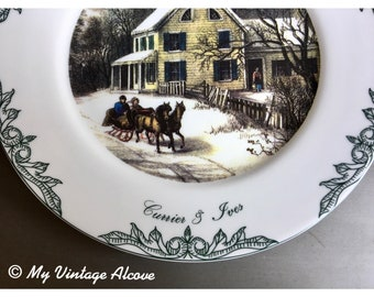 American Homestead Winter Currier and Ives, Currier and Ives American Homestead, Currier and Ives Plate, Currier and Ives Dishes