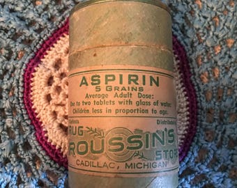 Aspirin Box -Roussin's Drug Store, Cadillac, MI Antique