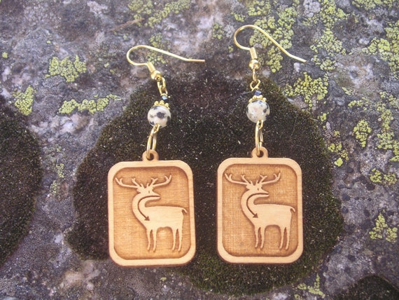 five dollar earrings, five dollar gifts, made in Montana, wood earrings,  Native American earrings, deer earrings, jewellery, elk earrings