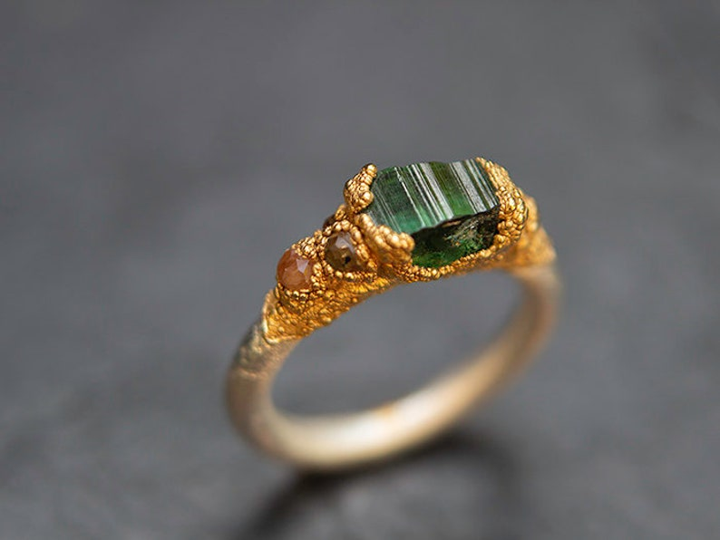Forest Green nature inspired green tourmaline wedding ring Organic baroque wedding ring rustic luxury ring gold silver engagement ring