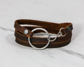 Leather Wrap Bracelet- Triple Wrap Soft Dark Brown Leather Bracelet-Handmade Ring And Hook- Brown Bracelet-Women's Leather Bracelet-Unisex